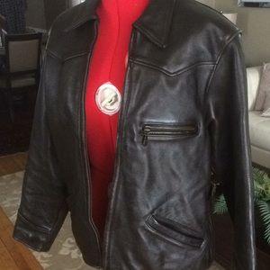 Jackets & Blazers - Black leather motorcycle jacket